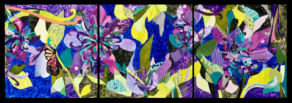 Butterfly In The Passion Flowers, mixed media art by Deanna Thibault